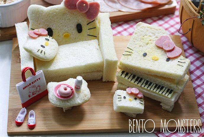 Un salon Hello Kitty à base de pain de mie