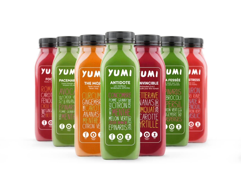 Sous fome de pack ou d'abonnement hebdomadaire, Yumi nous fait boire des jus de légumes et de fruits pour notre bien !