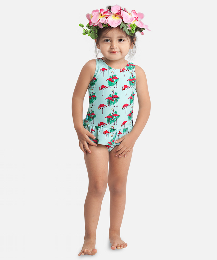maillot anti UV Elly la Fripouille motif flamingo pour petite fille