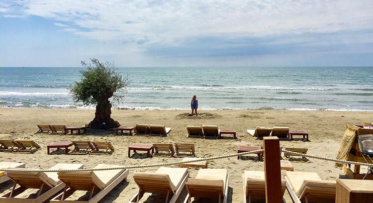 Déjeuner sur la plage pendant que les enfants vont s\
