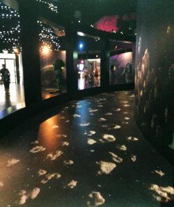 animation au sol au planétarium avec des astéroïdes qui bougent