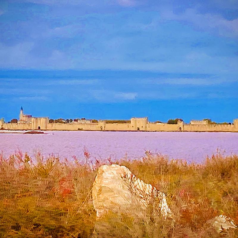 vue sur les remparts d'aigues mortes depuis le salin